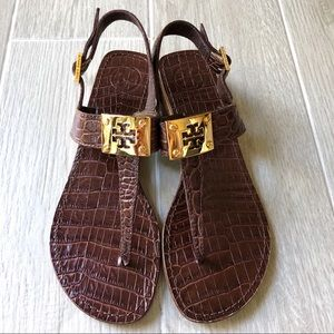 Tory Burch Brown crocodile print T Strap sandals